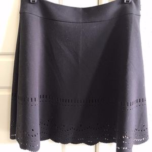 Loft Black skirt with Laser Cut Scalloped Hem